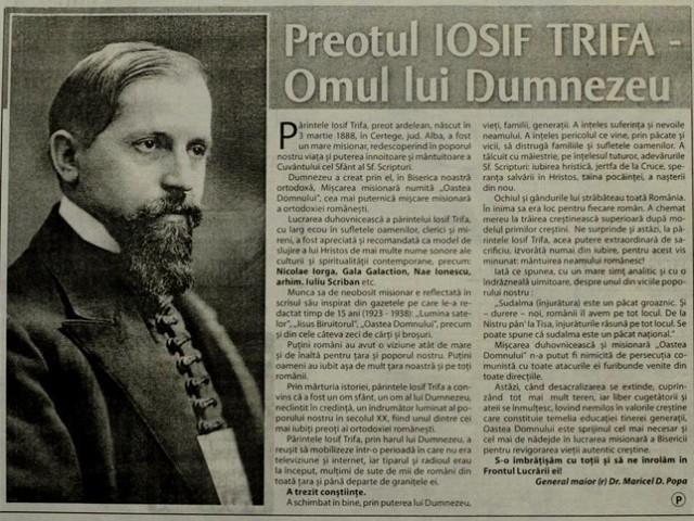 """Articol în cotidianul Viața Liberă: """"Preotul IOSIF TRIFA – Omul lui Dumnezeu"""""""
