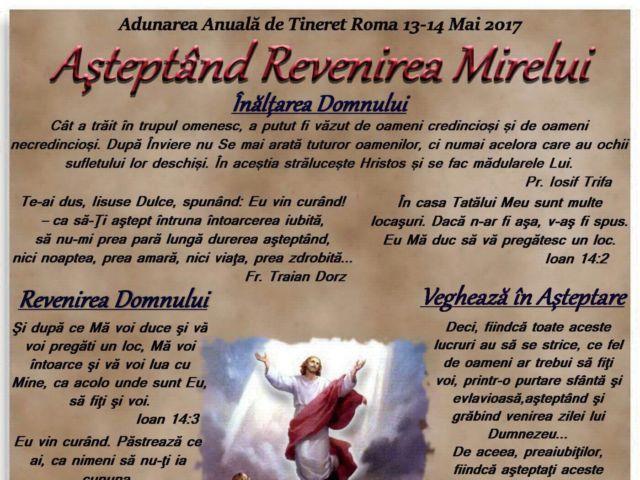 Așteptând Revenirea Mirelui – Adunare de tineret, Roma (IT), 13-14 Mai 2017