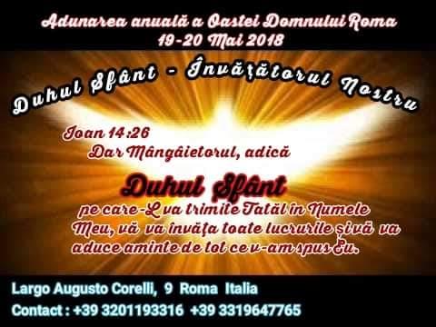 Duhul Sfânt – Învățătorul nostru – Adunare anuală Roma (IT), 19-20 mai 2018